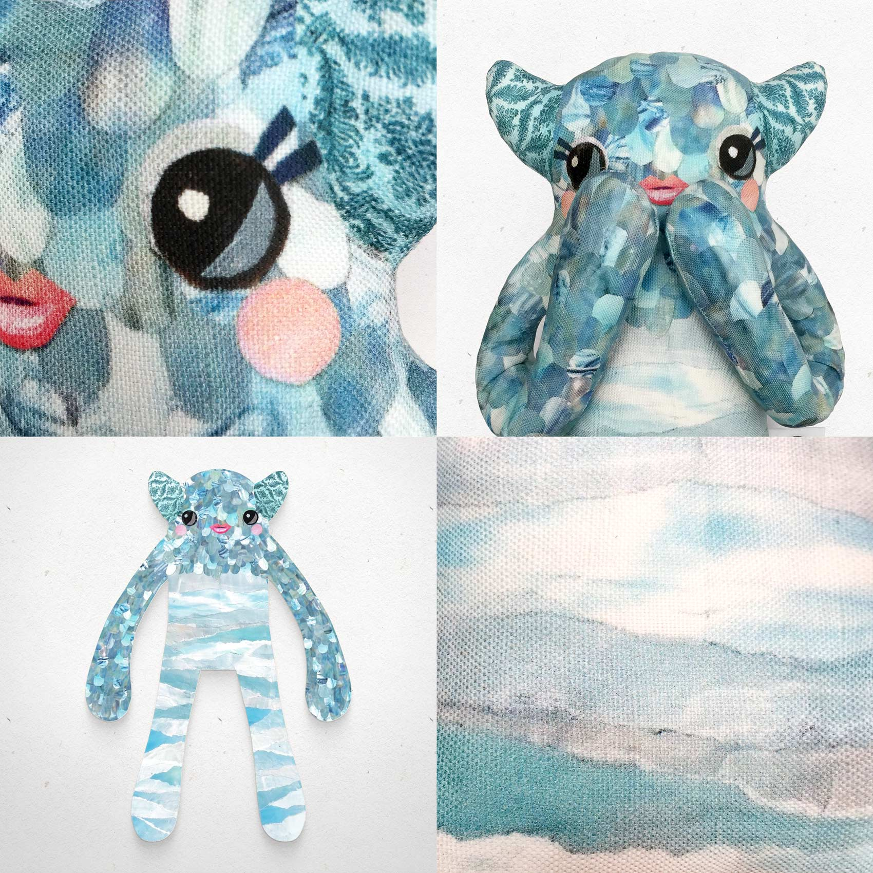 Priscilla - Papercut Monsters - Handmade Stuffed Toy
