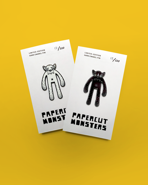 Hard Enamel Pin - Papercut Monsters - Handmade Stuffed Toy