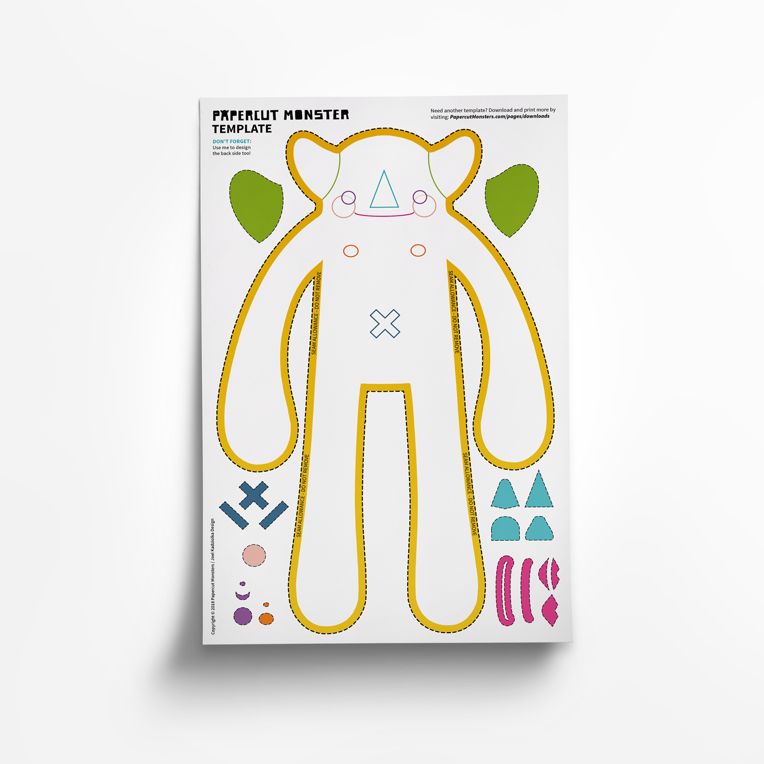 Free Collage Template - Download and Print - Papercut Monsters - Handmade Stuffed Toy