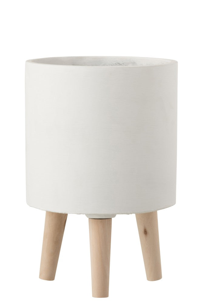 Maceta Con Pies Cemento Blanco.Flowerpot With Feet White Cement.Jolipa. Plantas. Plants. Decoración. Decor. Nomadestilo.