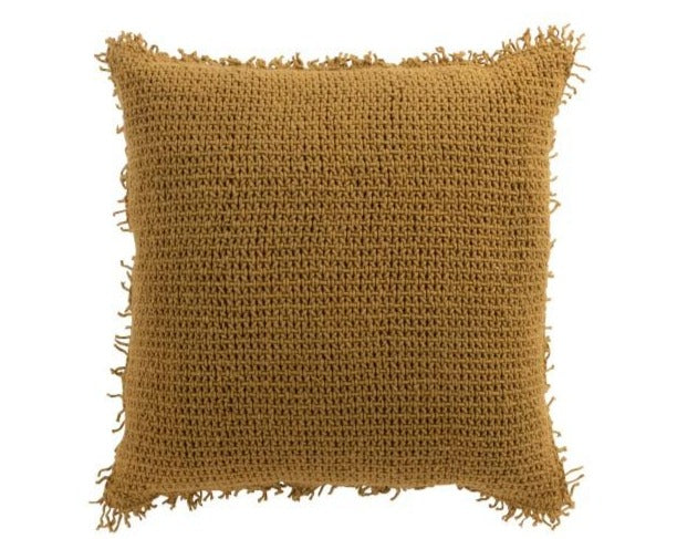 Cojín Ganchillo Ocre. Ocher Needle Cushion Jolipa. Textil. Textile. Decoración.Decor. Nomadestilo.