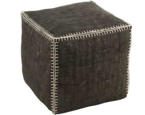 Puf Gris oscuro. Dark Gray Pouf. Jolipa.  Decoración.Decor. Nomadestilo.