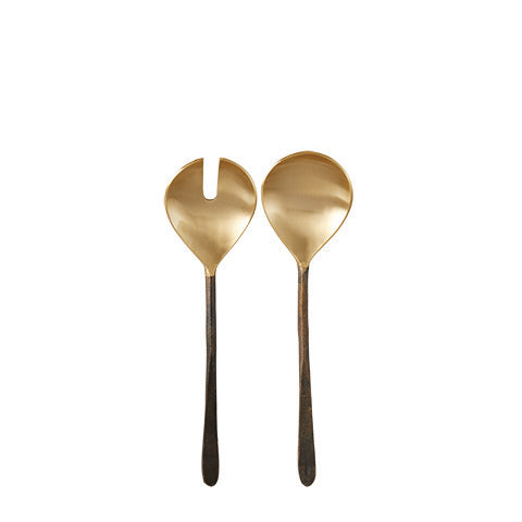 Iron and brass salad servers