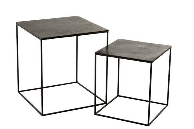 Set De 2 Mesa Auxiliares Cuadrada. Set of 2 square side tables. Jolipa. Decoración. Decor. Nomad Estilo.