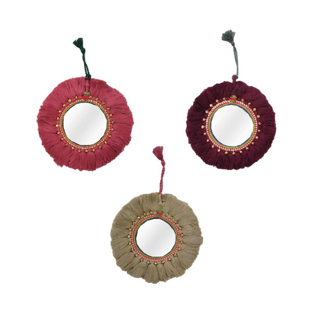 Llavero Espejo Flecos.Key chain fringed mirrors.Foimpex. Decoración. Decor.