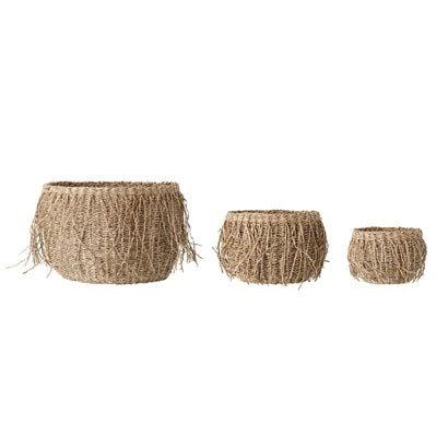 Set de 3 Cestas con Flecos de  Fibra Marina.  Set of 3 Baskets with Marine Fiber Fringes. Bloomingville. Decoración. Decor. Nomad Estilo.