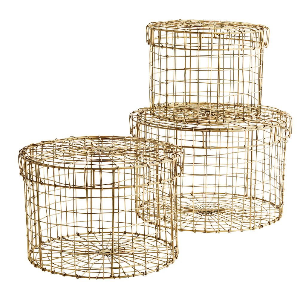 Set of 2 metal baskets with lid