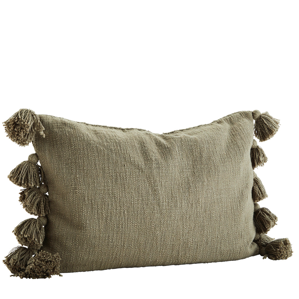 Olive Green Rectangular Cushion with Tassels