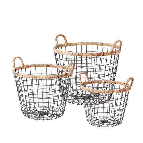 Set de cesta metal y mimbre.Metal and wicker basket set. Affari. Decoración. Decor