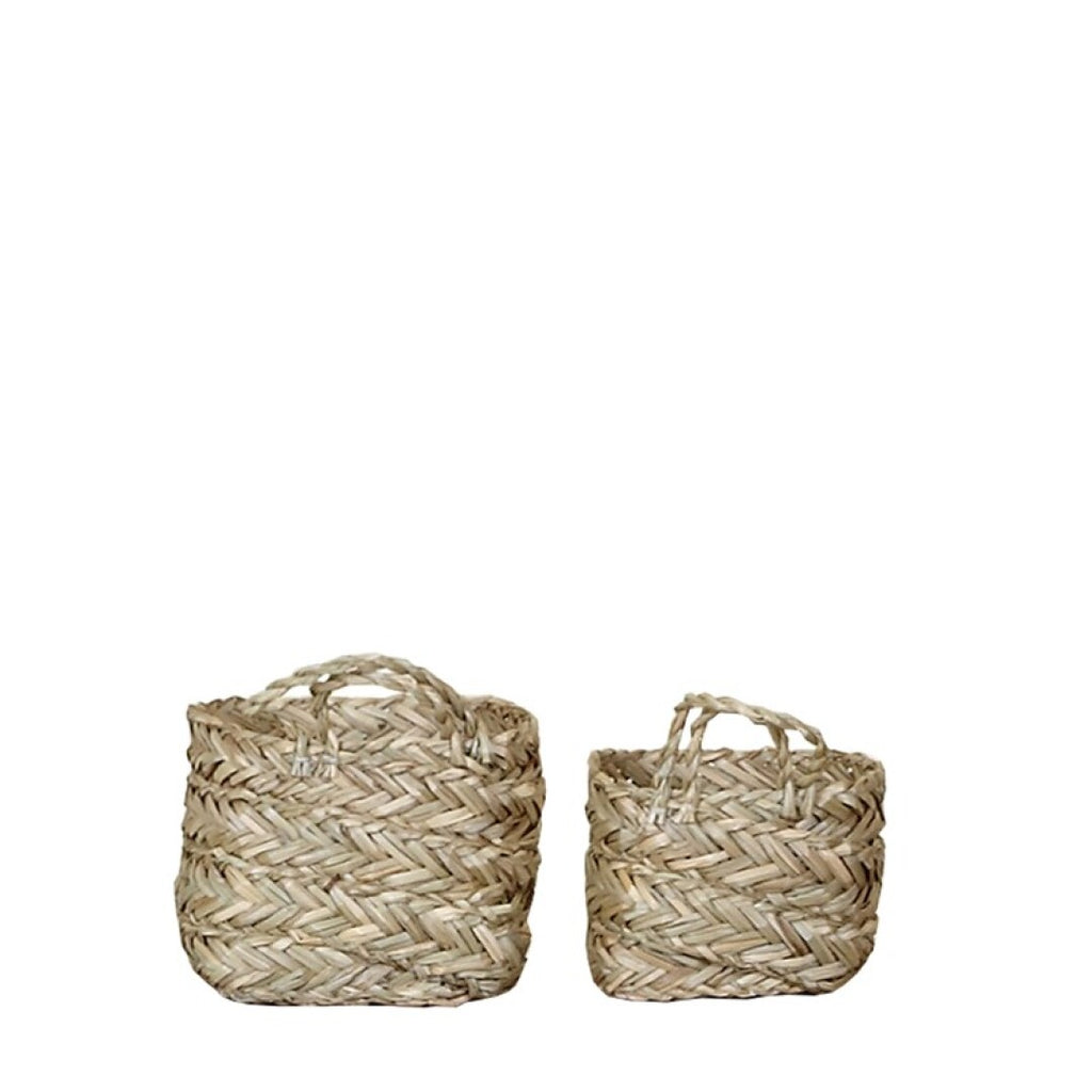 Cestitas de Paja.Small straw basket set. Foimpex. Decoración. Decor. Nomadestilo.