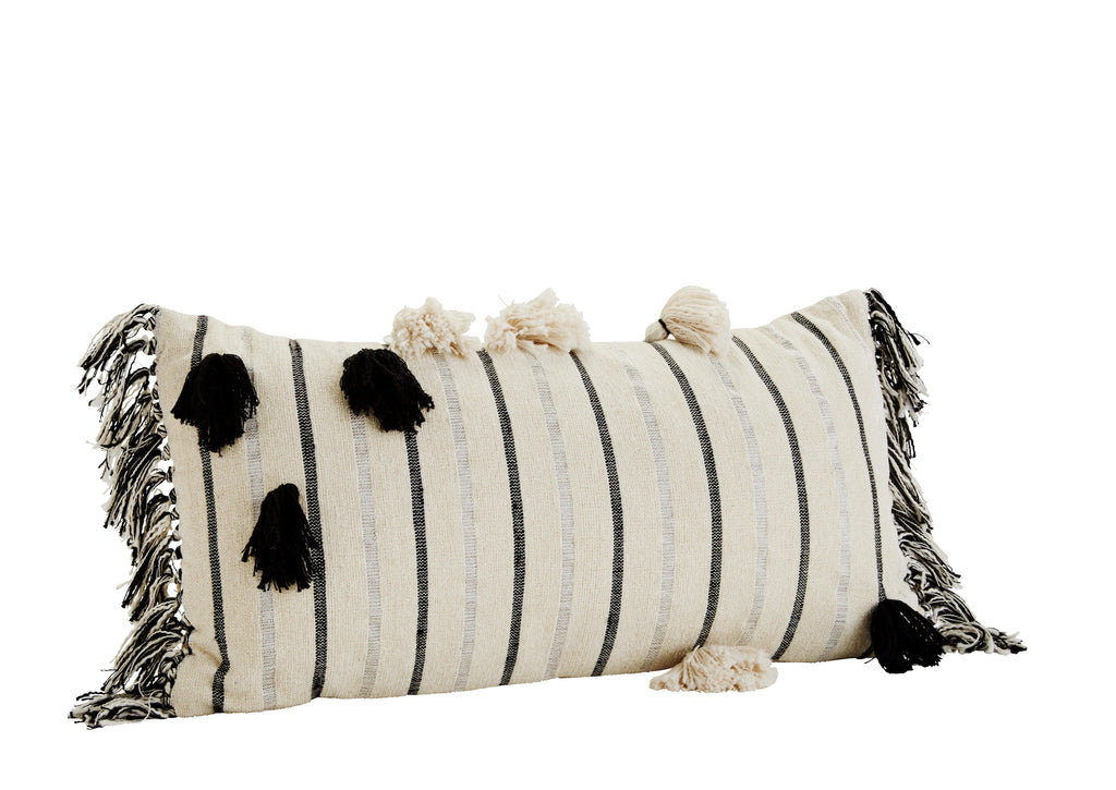 Black White Striped Cushion