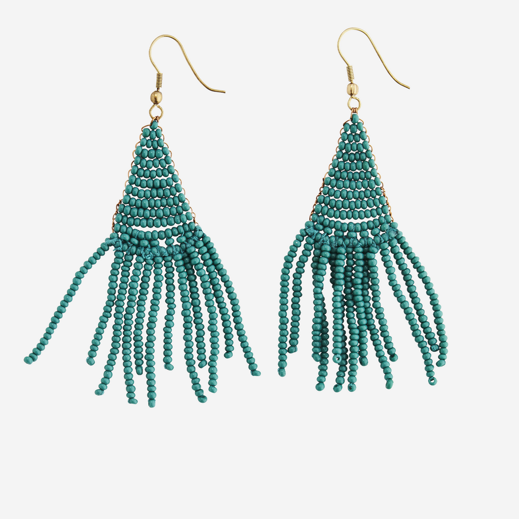Pendientes de Cuentas. Beaded earrings. Madam Stoltz. Accesorios. imitation jewelry. Nomad Estilo.