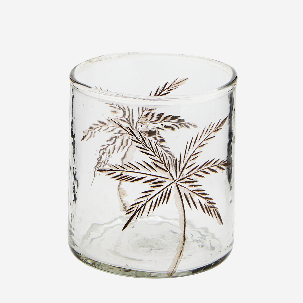 Vaso con Decoración de Palmera. Glass votive . Madam Stolts. Tableware. Nomad Estilo.Vajiilla.
