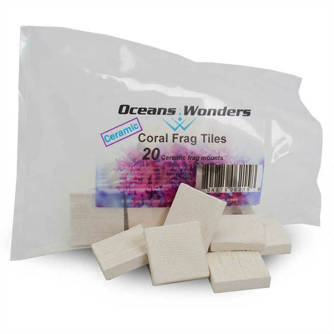 "Oceans Wonders Ceramic Coral Frag Tiles 1.25"" x 1.25"" (20 pc)"