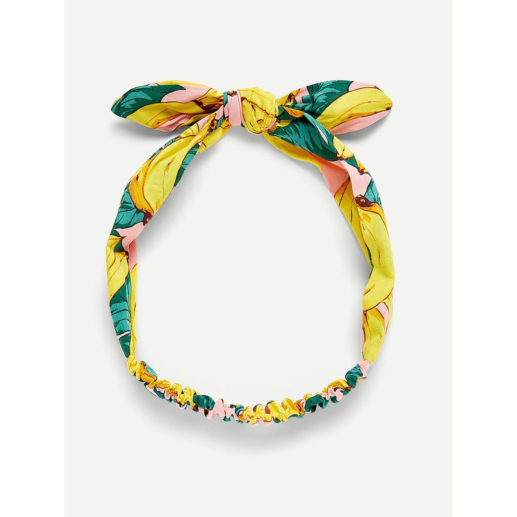 Banana Print Bow Knot Headband - Iconette