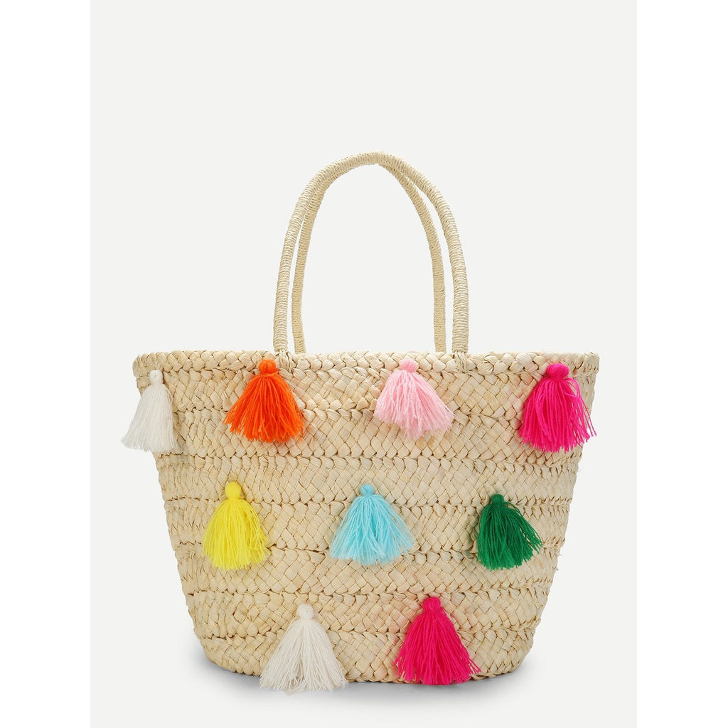 Multicolor Tassel Detail Straw Bucket Bag - Iconette