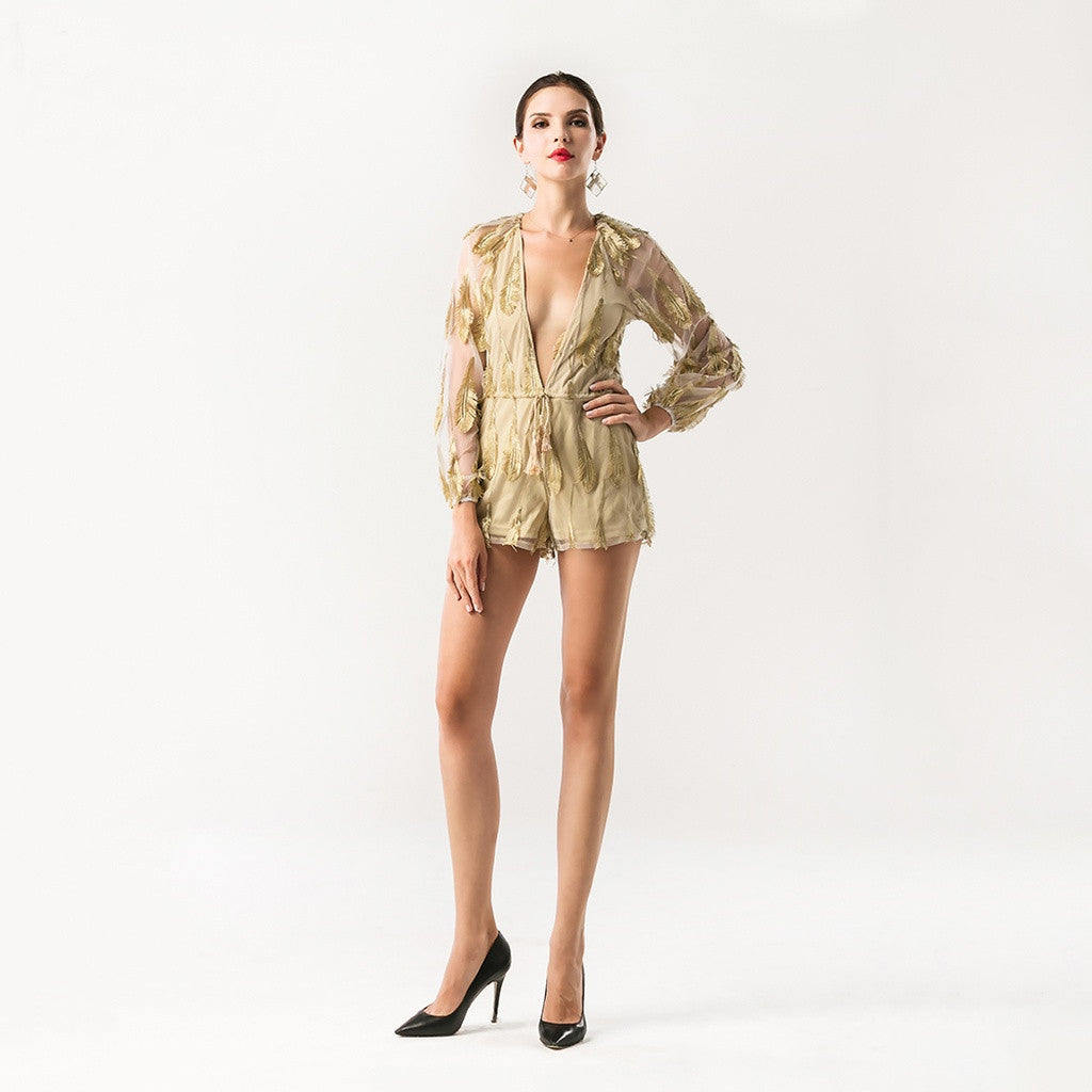 Lyra Feathered Mesh Romper Women - Apparel - Jumpsuits/Rompers- Iconette