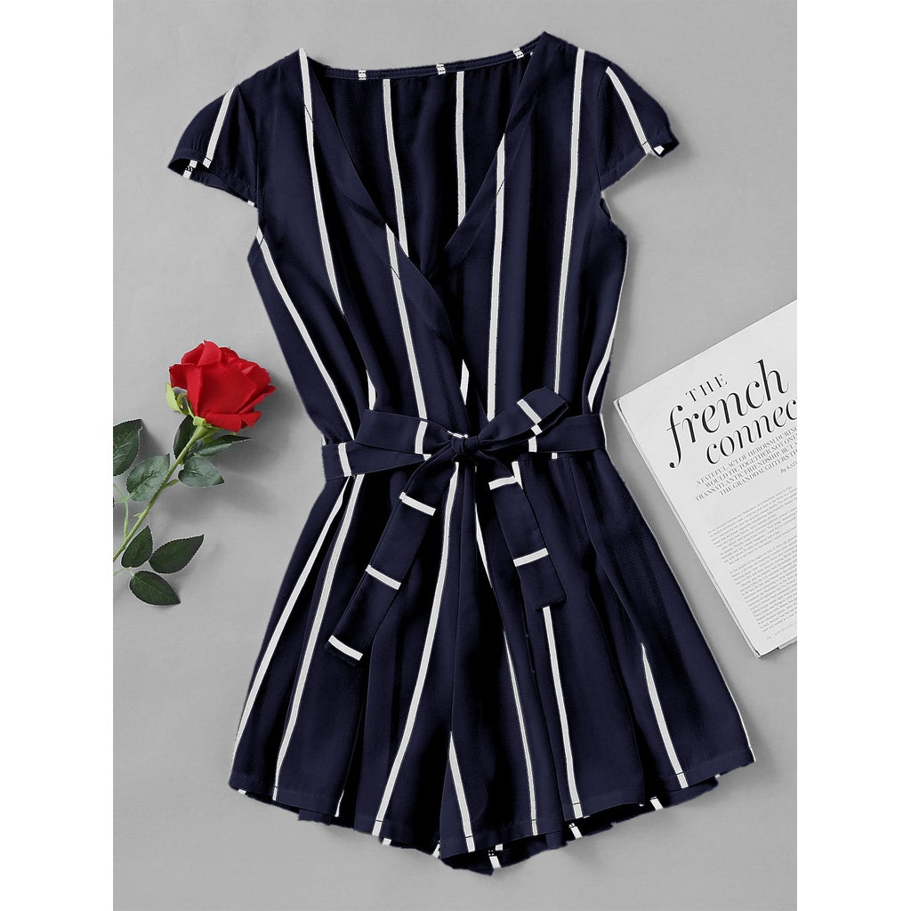 Odele Vertical Striped Surplice Romper With Belt - Iconette