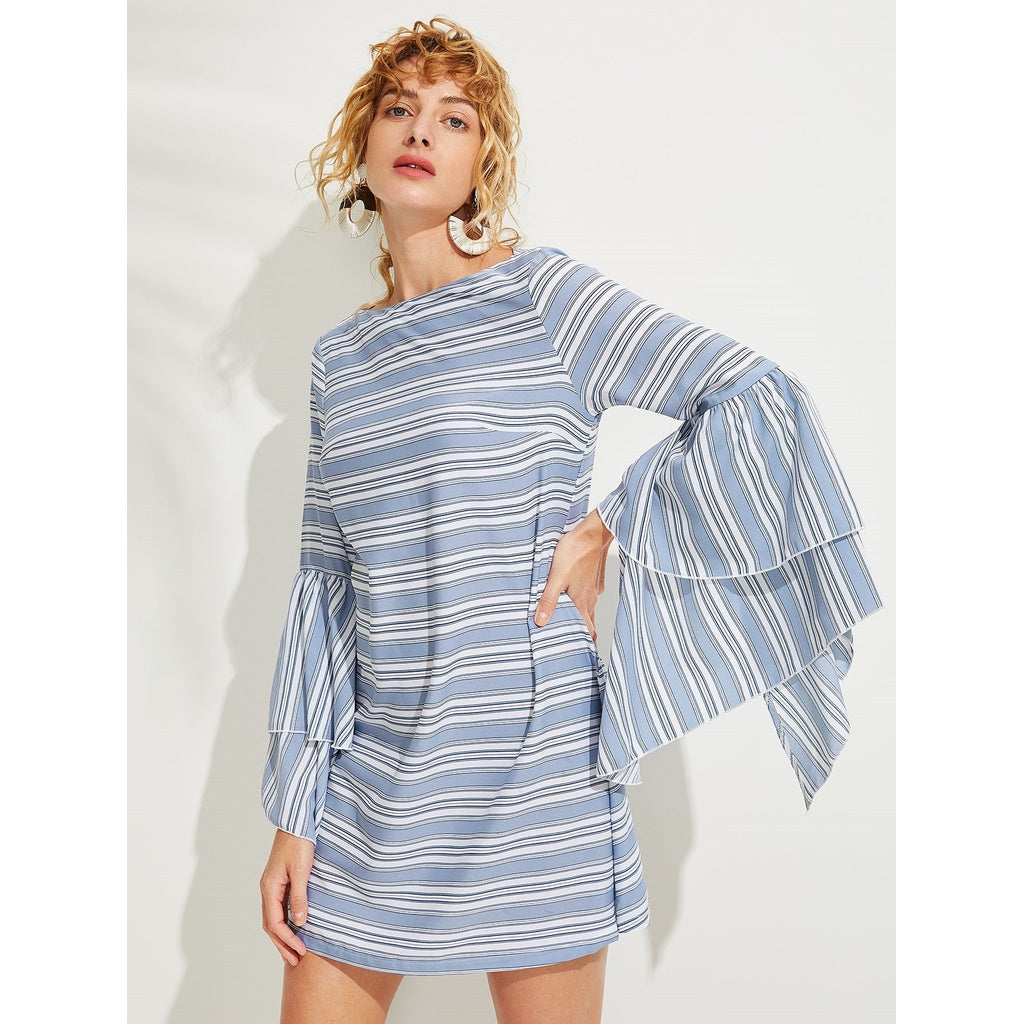Layered Flounce Sleeve Striped Top