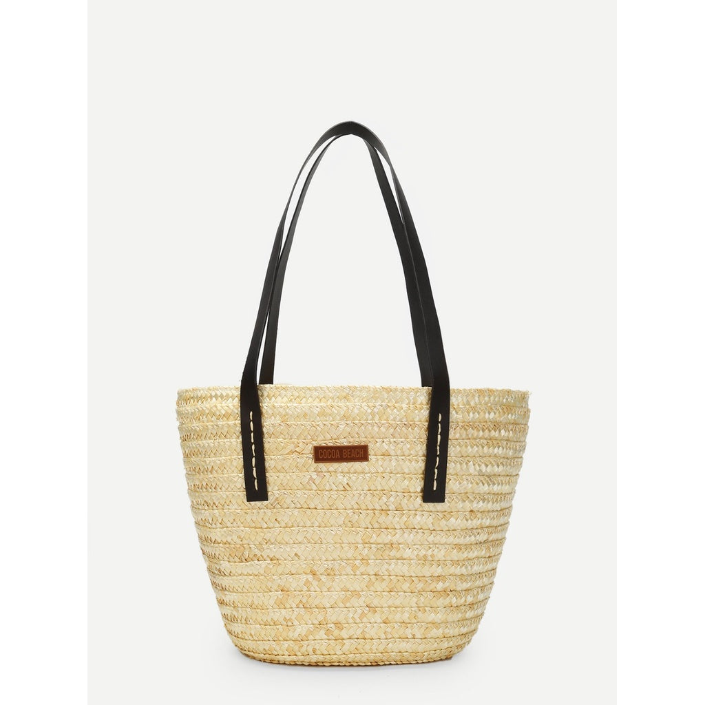 Double Handle Straw Shoulder Bag - Iconette