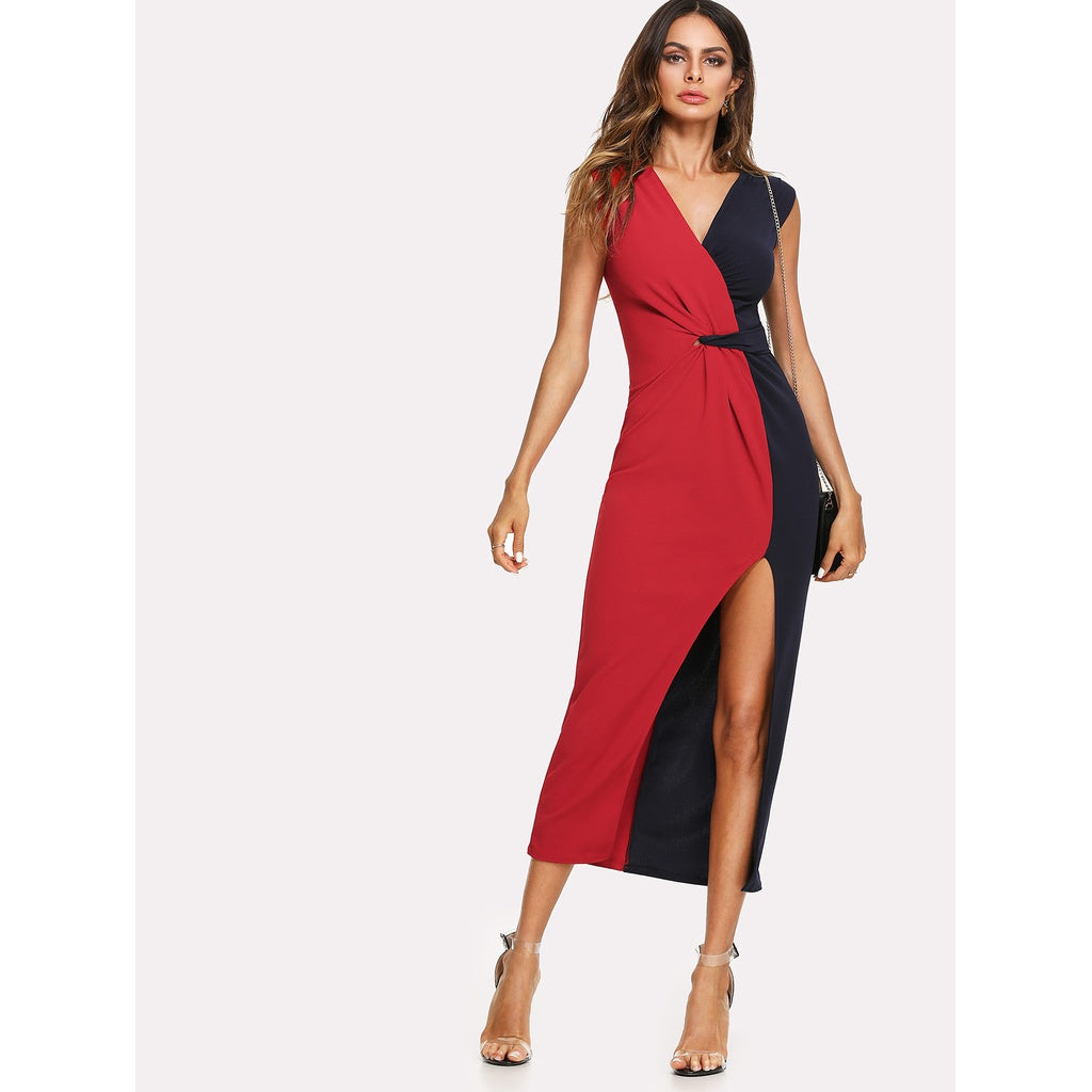 Ella Two Tone Split Side Longline Dress - Iconette