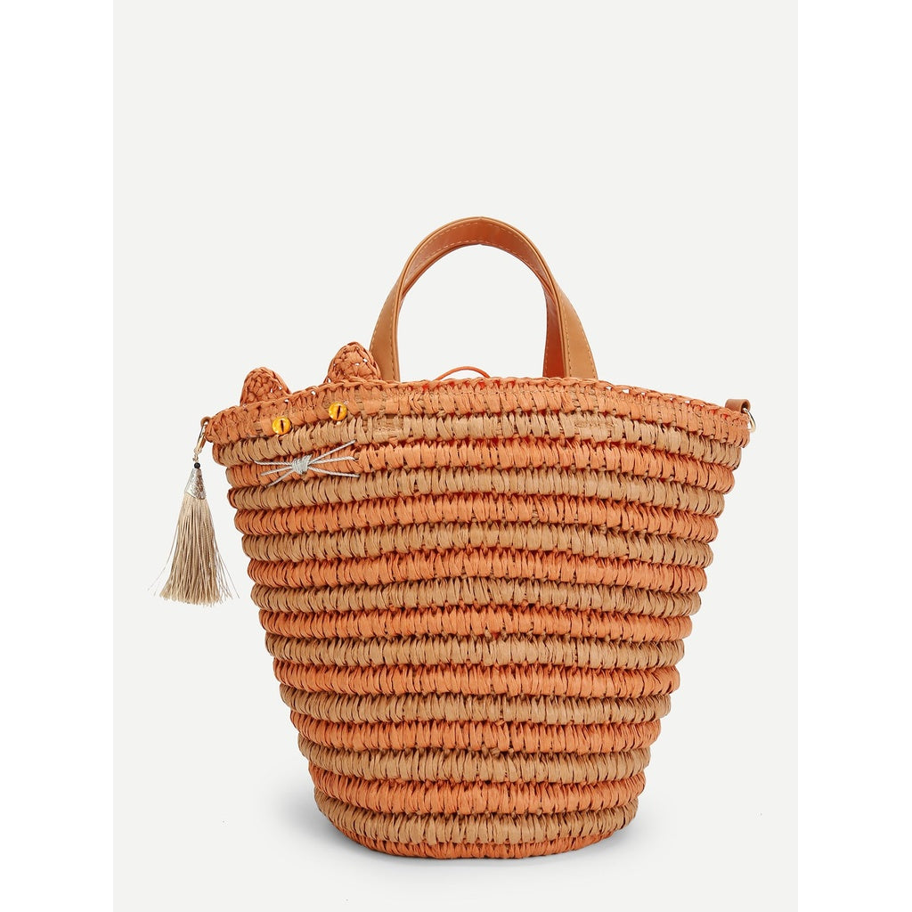 Straw Tote Bag With Tassel - Iconette