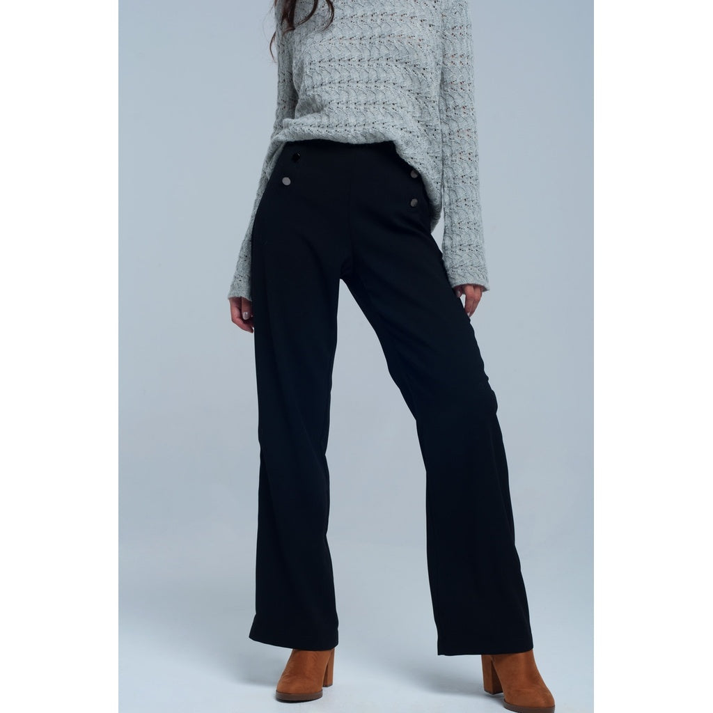 Kyra Black Straight Cut Pants With Buttons Detail Women - Apparel - Pants - Trousers- Iconette