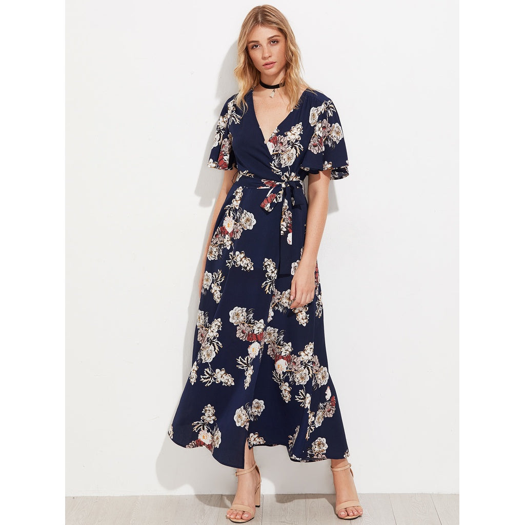 Marilia Flutter Sleeve Surplice Wrap Dress - Iconette