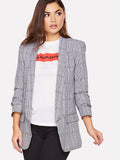 Shawl Collar Pocket Patched Plaid Blazer