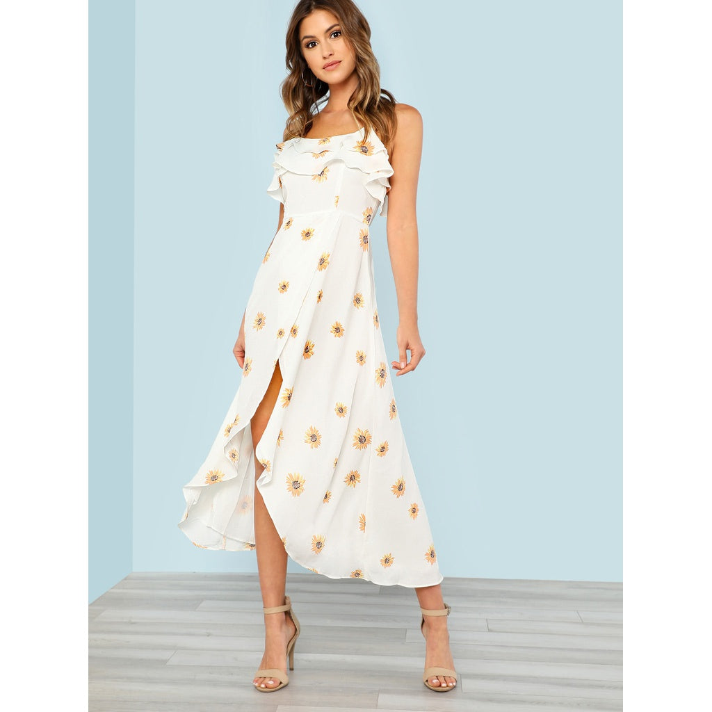 Alesia Sunflower Print High Low Dress with Strappy Back OFF WHITE - Iconette