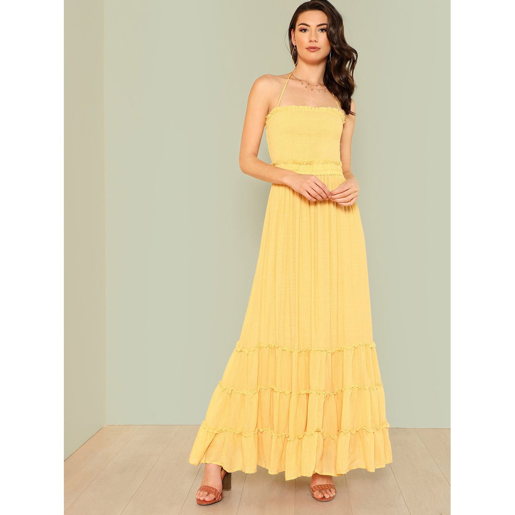 Jana Halter Strap Smocked Dress with Tiered Skirt MUSTARD - Iconette