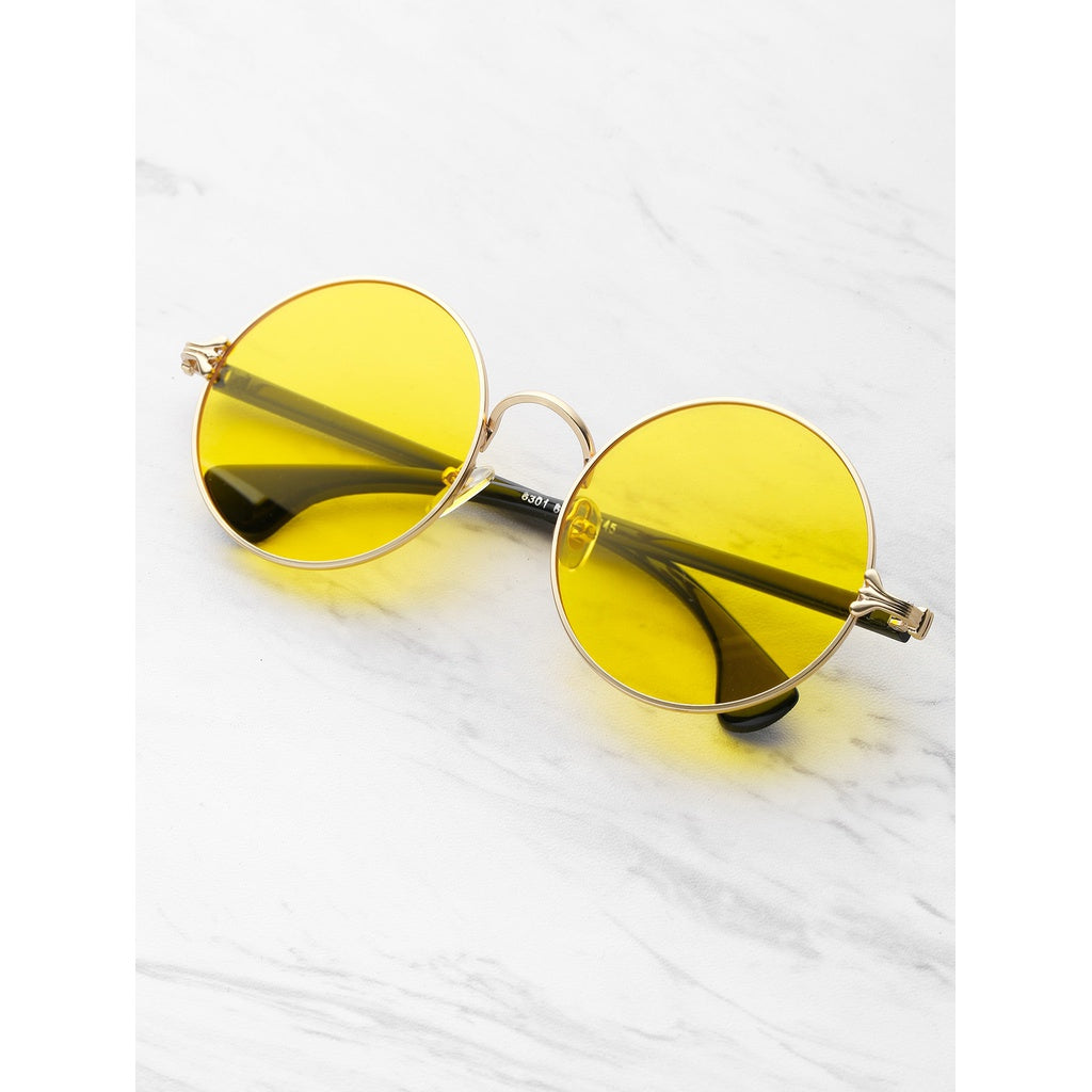 Two Tone Frame Round Sunglasses - Iconette