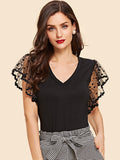 Dot Mesh Sleeve V Neck Tee