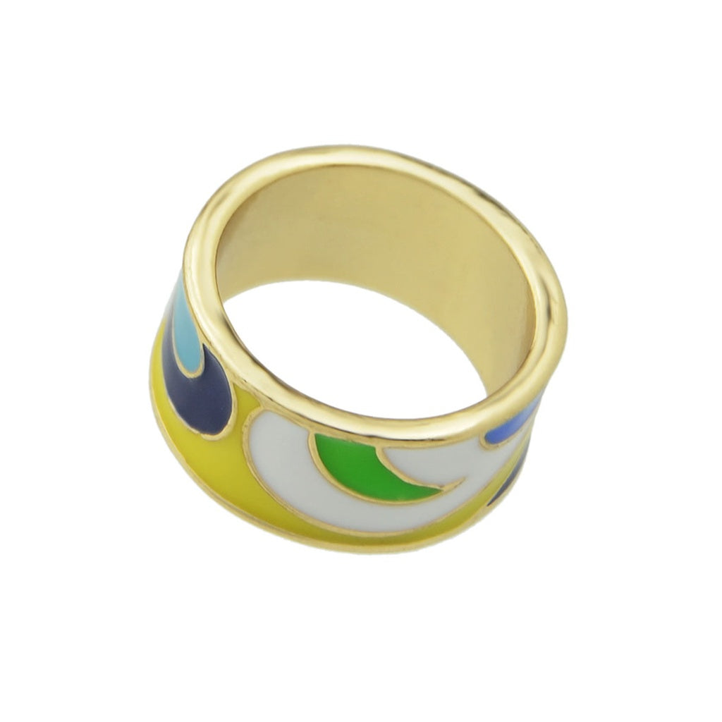 Yellow-8 Geometric Pattern Finger  Rings - Iconette