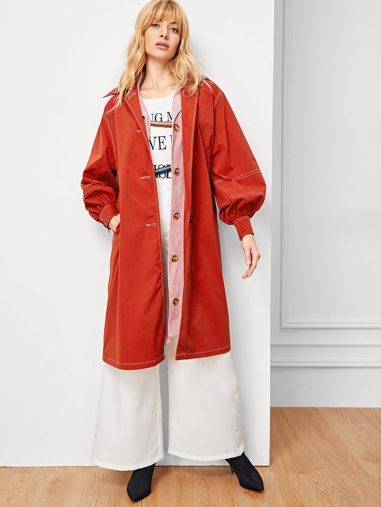 Button Up Contrast Stitch Longline Coat