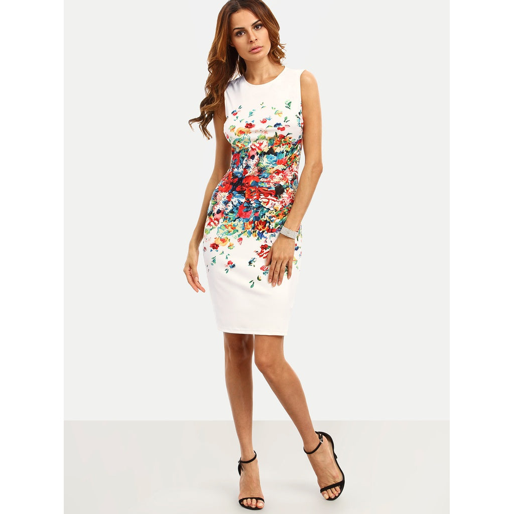Serena Abstract Flower Print Fitted Dress - Iconette