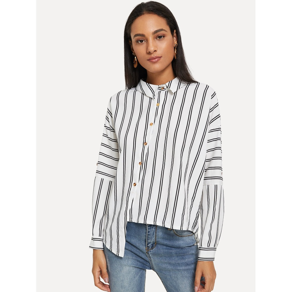 Drop Shoulder Asymmetrical Hem Stripe Shirt