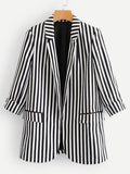 Pocket Front Striped Blazer