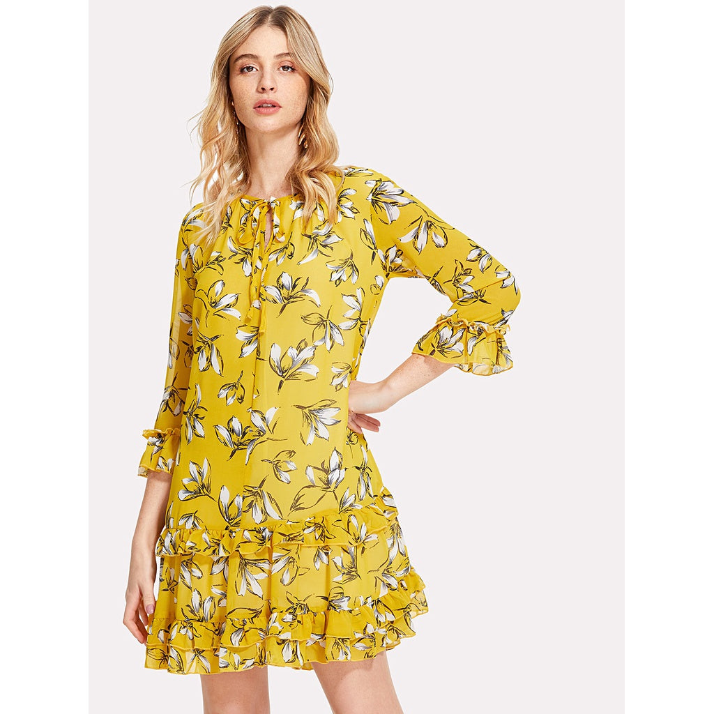Eveline Tie Neck Ruffle Trim Floral Dress - Iconette