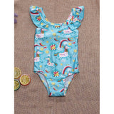 Girls Unicorn Print Ruffle Trim Swimsuit