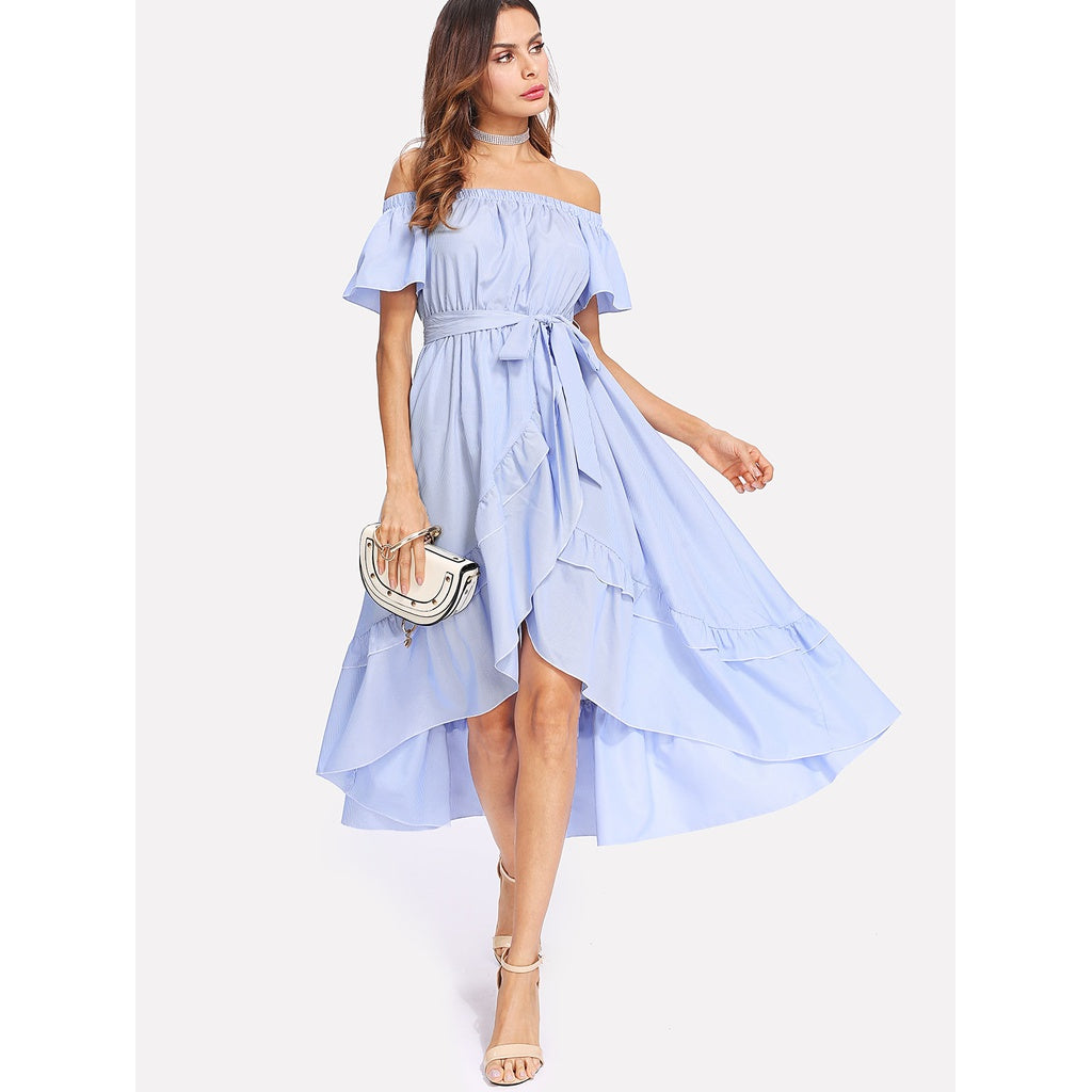 Adina Ruffle Trim Overlap Hem Striped Bardot Dress - Iconette