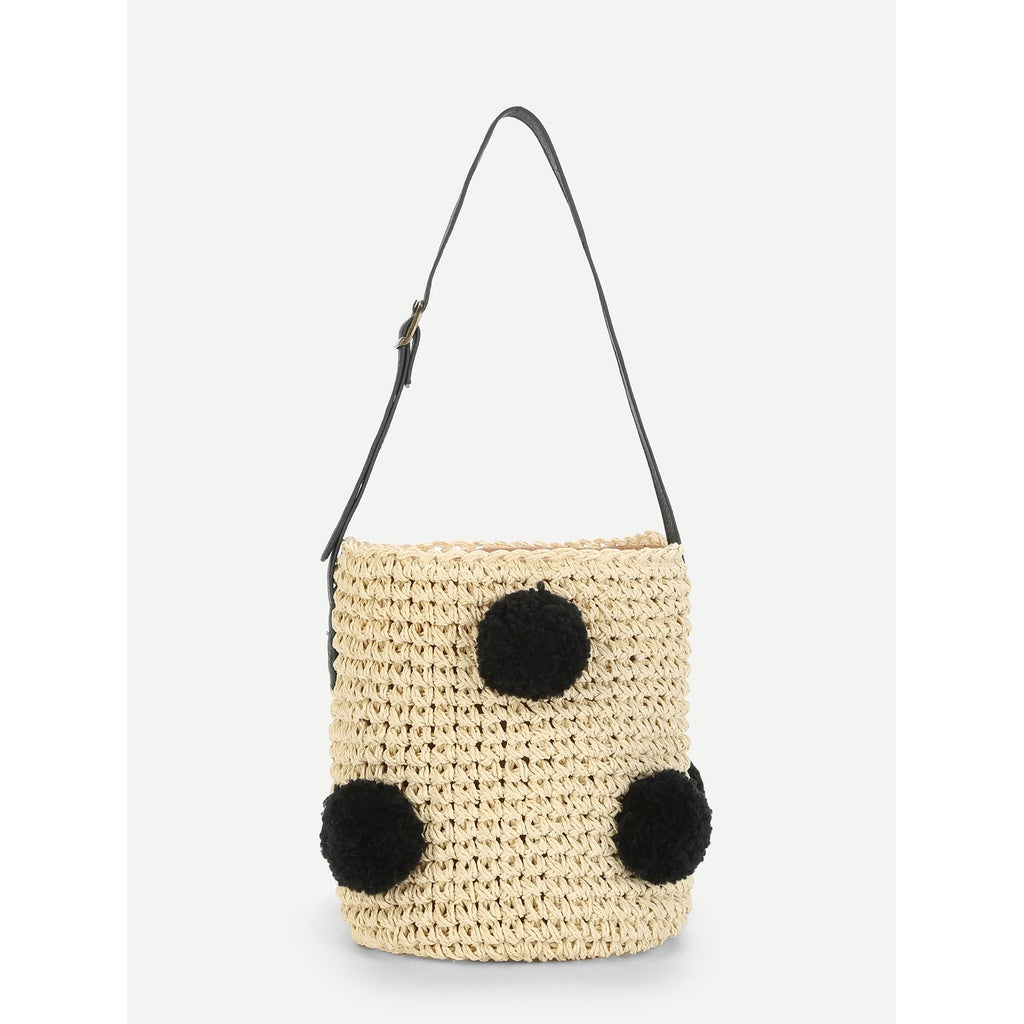 Pom Pom Decorated Straw Bucket Bag - Iconette