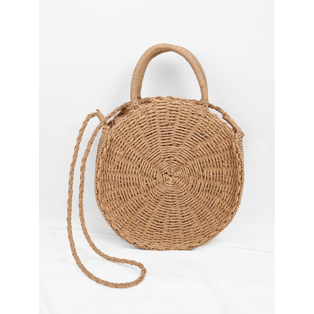 Round Straw Tote Bag - Iconette