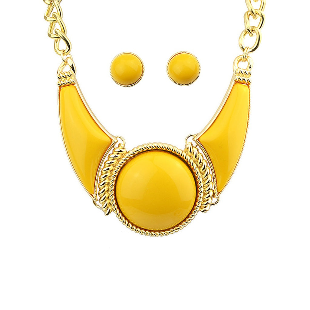 Elsa Yellow Gemstone Necklace With Earrings - Iconette
