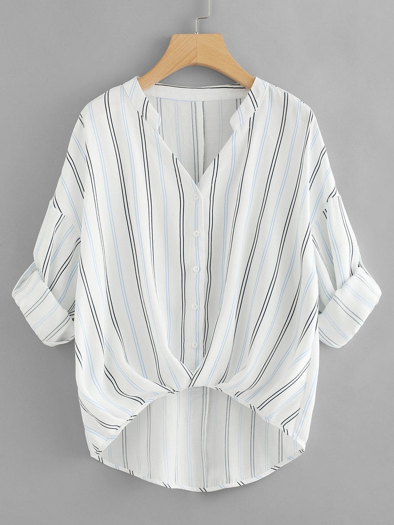 Rolled Up Sleeve Striped Dip Hem Blouse