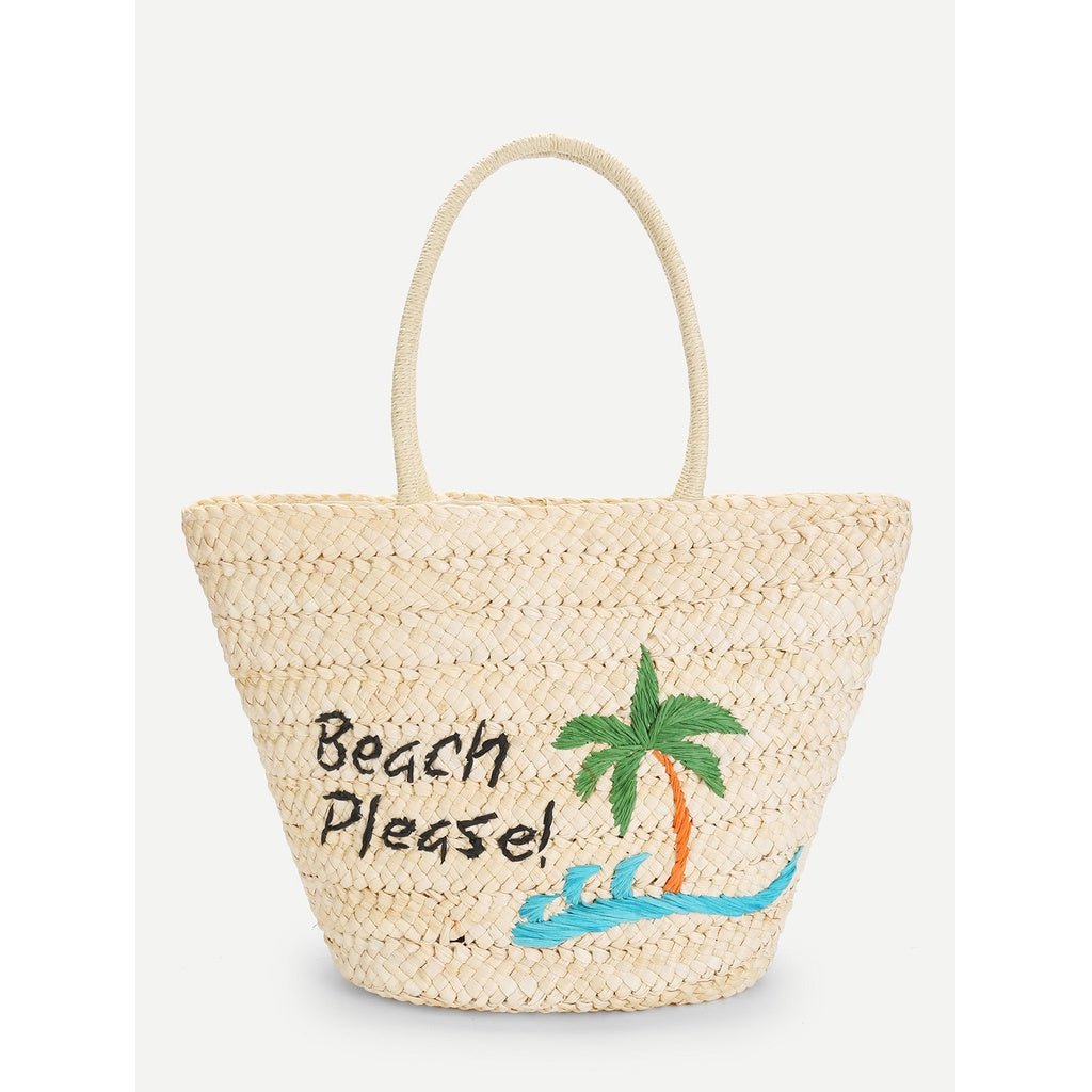 Palm Tree Straw Tote Bag - Iconette