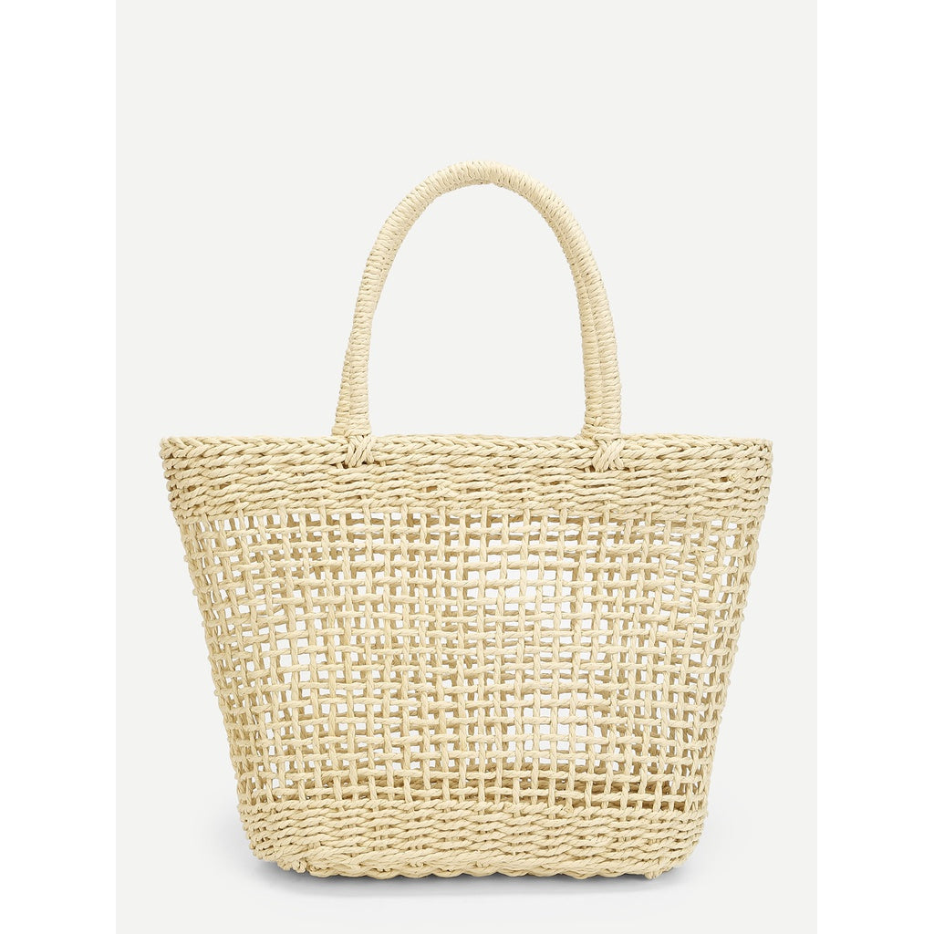 Hollow Carved Design Straw Bag - Iconette