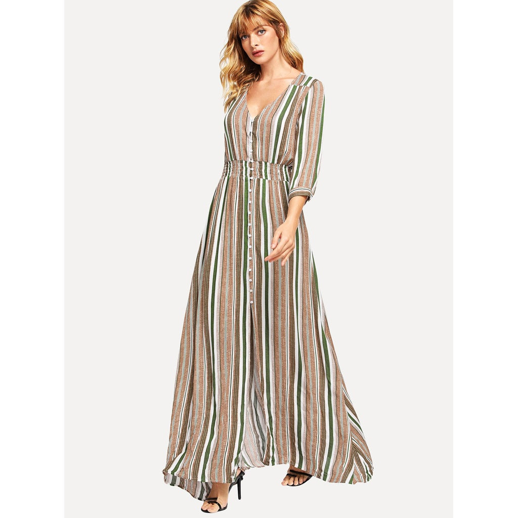 Shirred Waist Striped Maxi Dress
