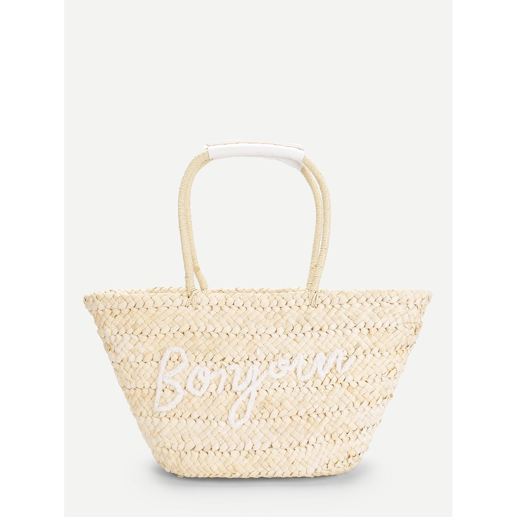 Letter Pattern Straw Tote Bag - Iconette