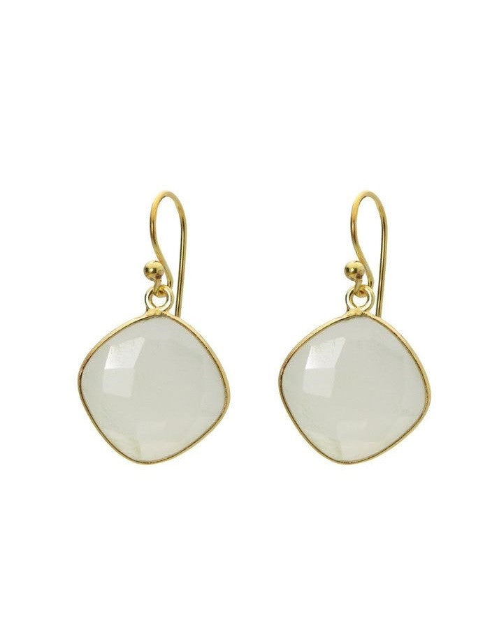 Small Square MoonStone Earrings Women - Jewelry - Earrings- Iconette